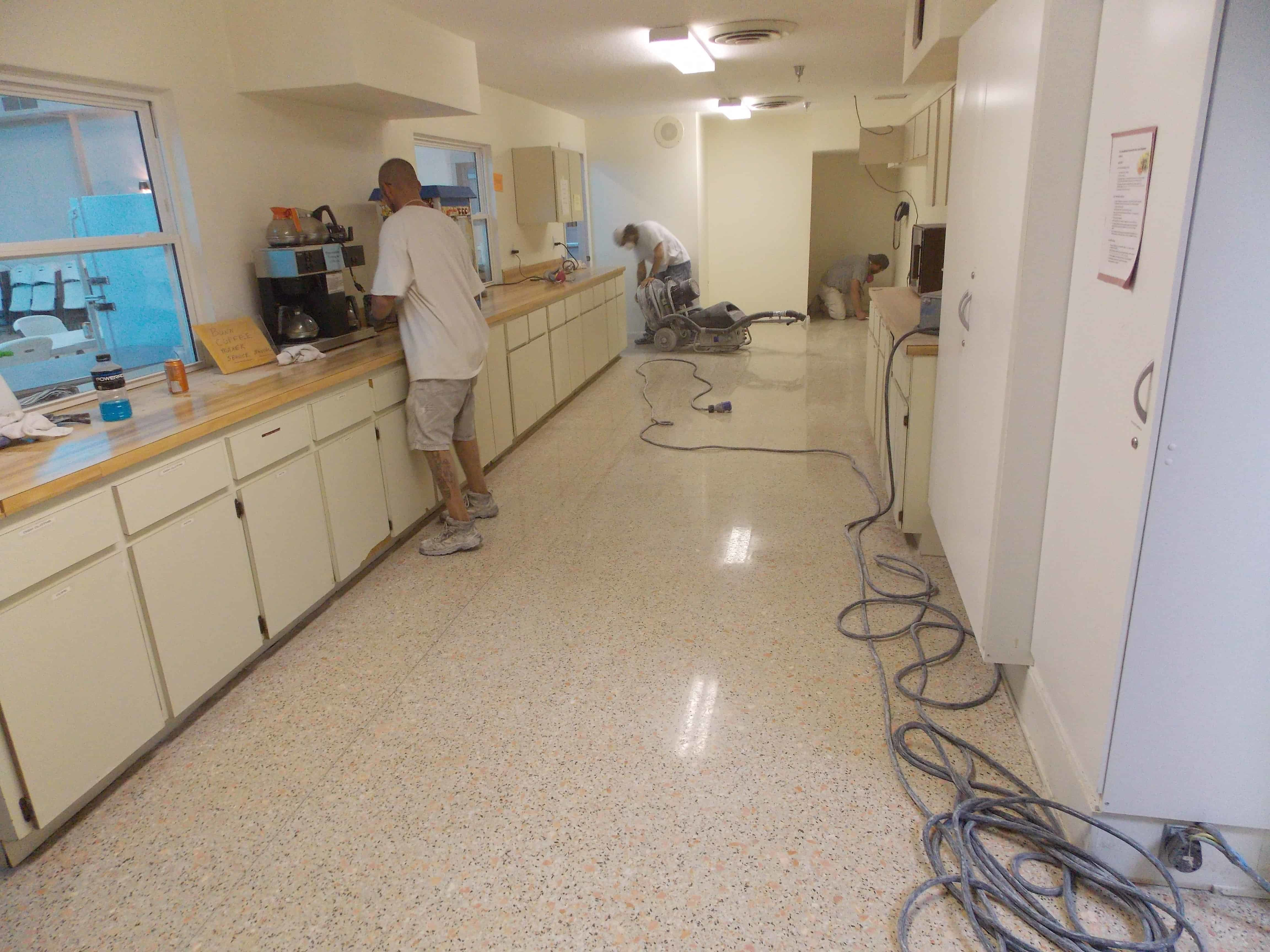 This floor had vinyl tile removed and then restored.