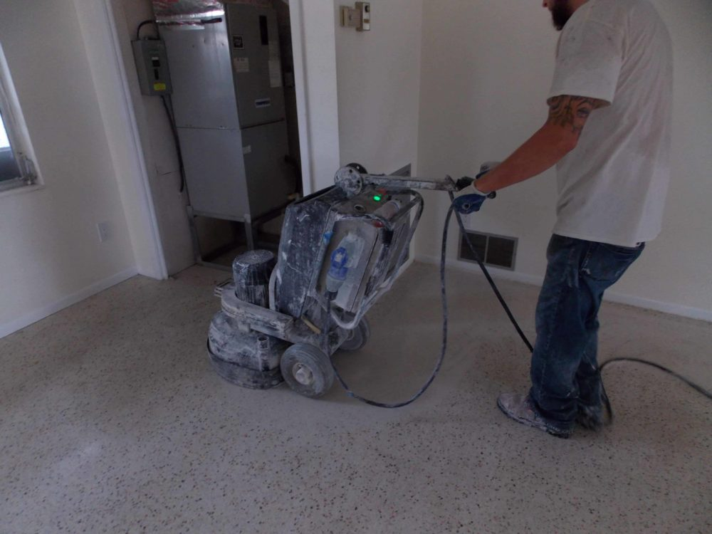 terrazzo restoration using an HTC 500 planetary grinder