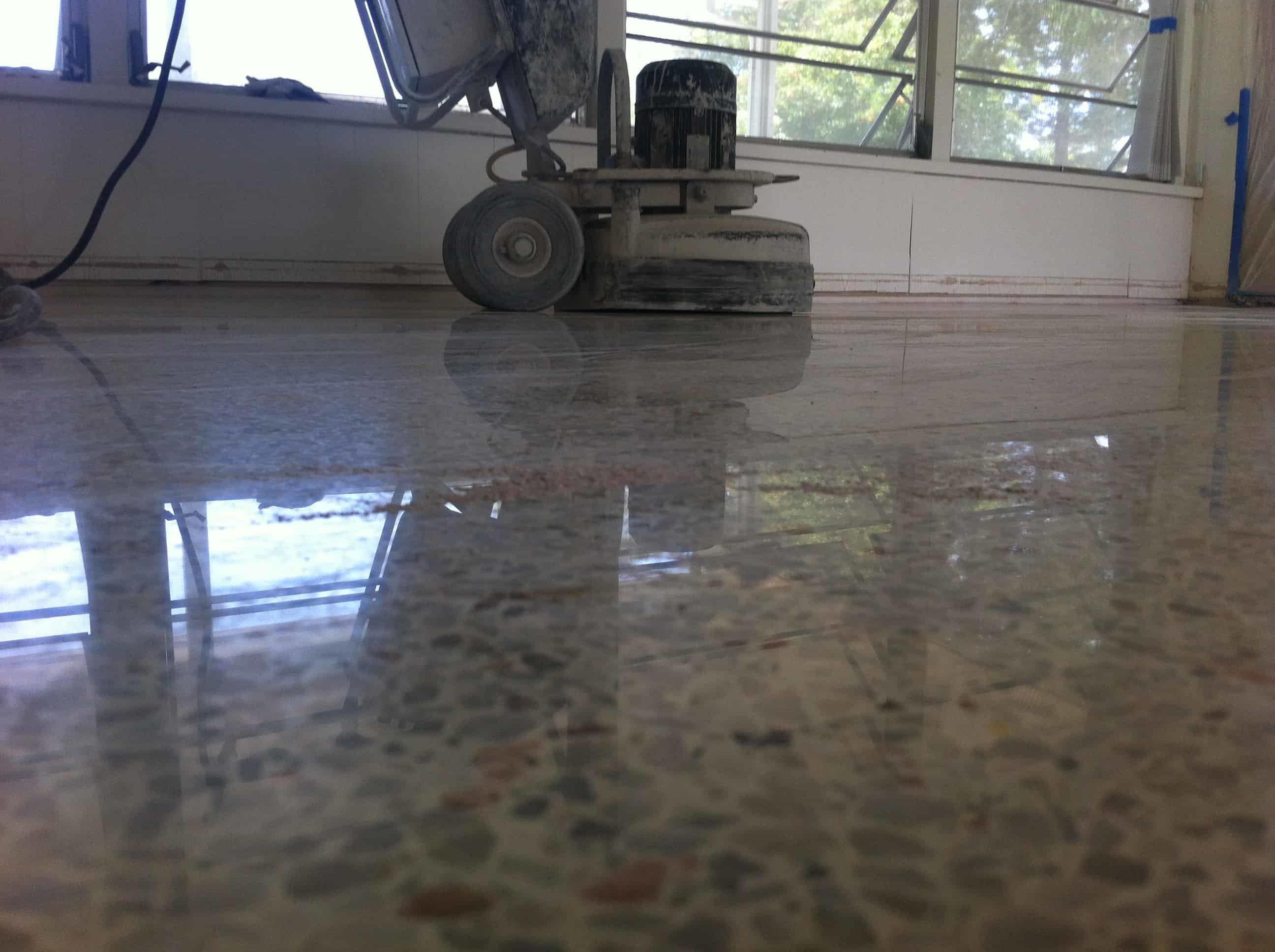 terrazzo floor during polishing