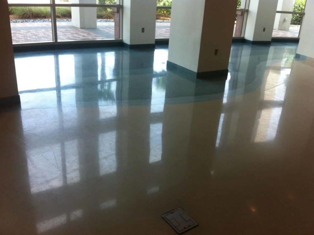 this commercial terrazzo foor looks raged but ended looking great after restoration.loor look