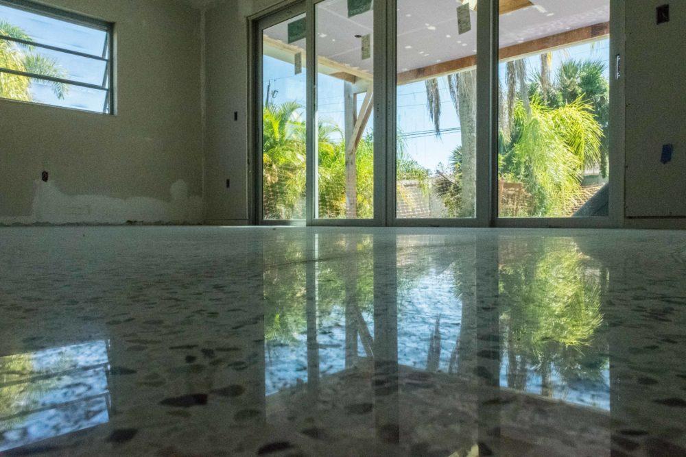 Polished and sealed terrazzo floors