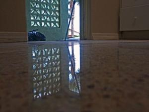 Terrazzo restoration Englewood done with dry polishing diamond system