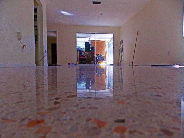 Terrazzo floor restored with diamond grinding and polishing