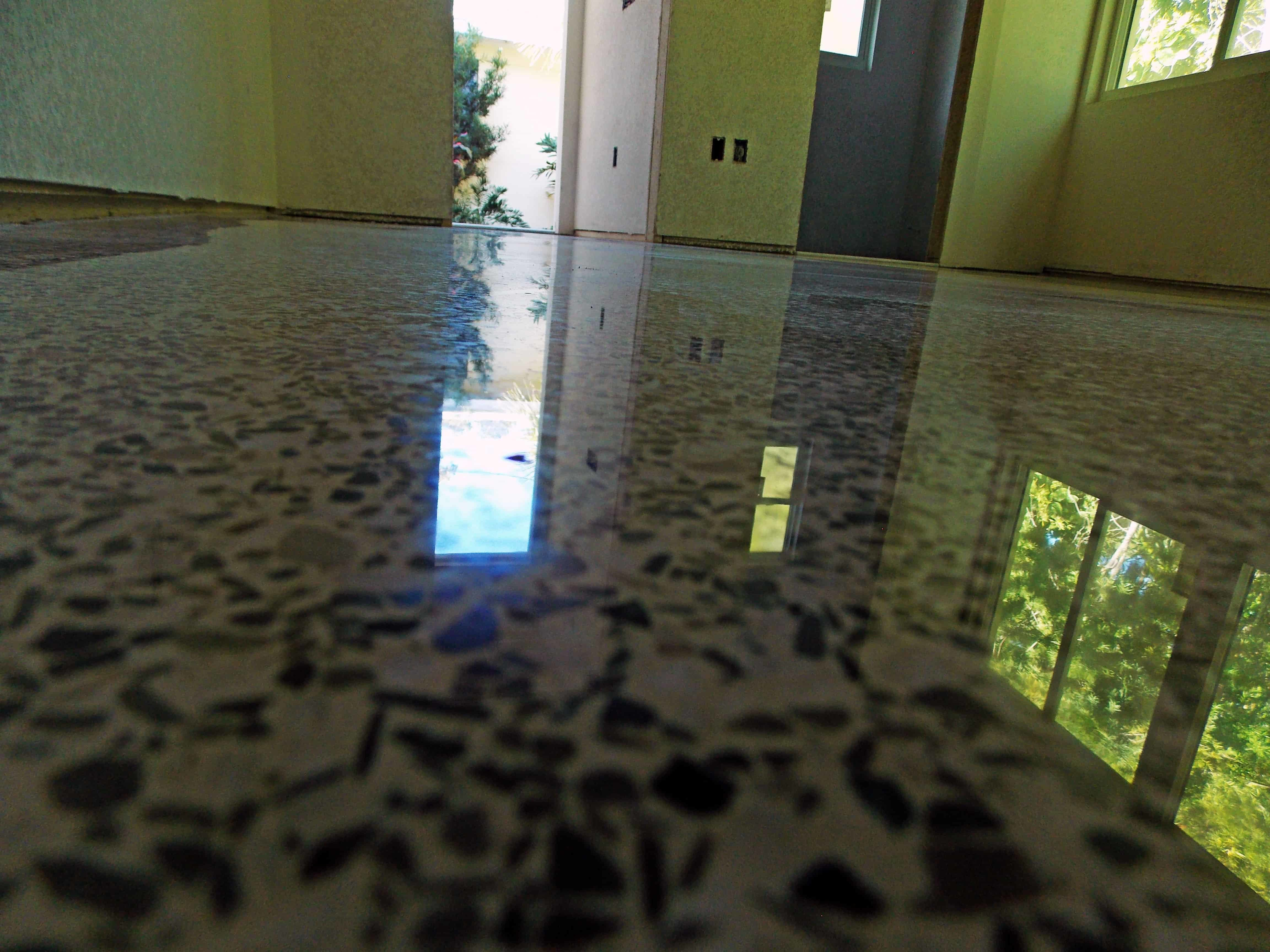Polished terrazzo done with diamonds and no topical sealer